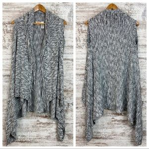Open Cardigan Sweater with Fringed Edges